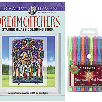 Sargent Art Fluorescent Gel Pens 10 Count, and Dover Creative Haven DreamCatchers Stained Glass Adult Coloring Book, Gift Bundle of 2 (Transparent Coloring Paper that Glows Like Stained Glass)