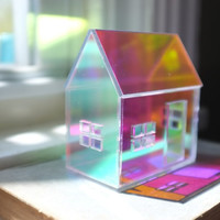 Rainbow Iridescent Acrylic House - mirrored house structure