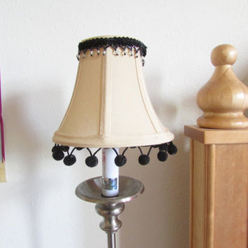 SALE Black Pom pom/trim  chandalier lampshades clip cream Pair of shades