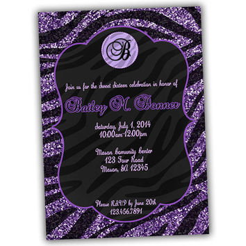 Glitter Purple Zebra Birthday Invitation - Monogram Purple Glitter Girls Birthday Invite - Sweet 16 Invitations - Teenage Girl Party Animal