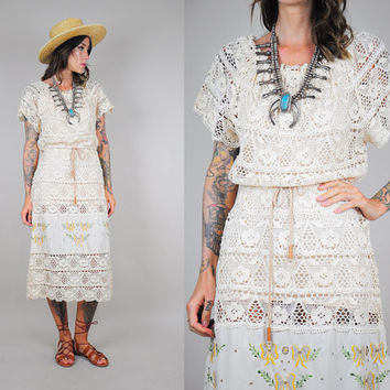 Ivory sheer CROCHET vtg 70's cotton sundress EMBROIDERED drawstring Hippie BOHEMIAN Mexican
