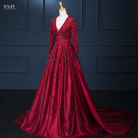 SML New Charming 2016 Burgundy Red Open Back Long Sleeves Lace Applique Beading V Neck Formal Evening Dresses For Wedding Party