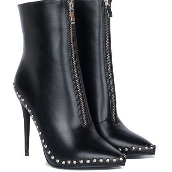 AKIRA High Stiletto Pointed Toe Zip Front Studded Booties in White PU, Black PU