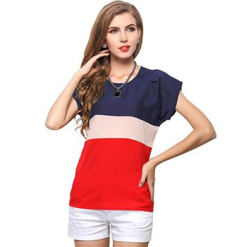 Fashion color patchwork chiffon shirt women summer blusas ladies short sleeve O-neck blouses S-XXXL sheer blusas free shipping