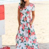 Ivory and Coral Floral Maxi Dress