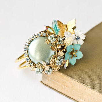 Cuff Bracelet in Sky Blue Gold and white Vintage by lonkoosh
