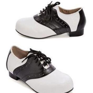 Kid's Black and White Saddle Shoes - Costume Accessory