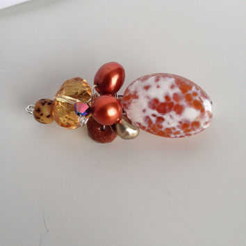 Fire Agate, Crystals, Seed and Pearls Brooch - Brown and Rust Brooch