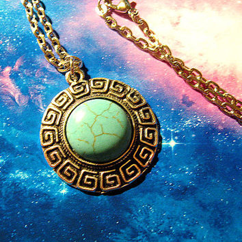 Turquoise Choker Or Chain Necklace, Cosmos, Bohemian, Hippie, Boho, Cosmic, Vegan