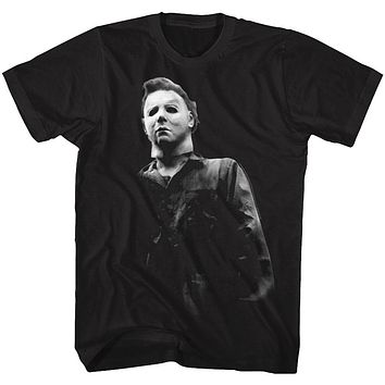 Halloween T-Shirt Black and White Michael Myers Black Tee