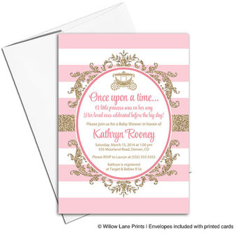 Princess baby shower invitations | baby shower invites girl | pink and gold invitation | printable or printed - WLP00716
