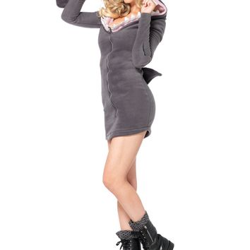 Cozy Shark, Features Zipper Front Fleece Dress With Realistic Shark Fin Detail And Cool Shark Teeth Hood (Medium,Grey)