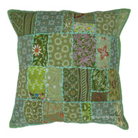 "20"" Inch Green Vintage Indian Sari Patchwork Euro Pillow Sham"