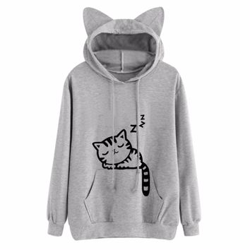 Cat Ear Hooded Coat Women Sweatshirt Sleep Cat Printed