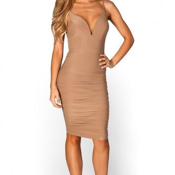 Alicia Tan Spaghetti Strap Plunging Sweetheart Bodycon Midi Dress