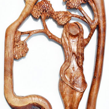 Mother Nature, Woodcarving, 5th Anniversary Gift, Handmade Woodworking by Josh Carte, OOAK, Wall Art Hanging, Wood Gift for Her, Maple Burl
