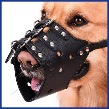 Selling Adjustable Soft Leather Mesh Pet Dog Muzzle Anti Bark Bite Mouth Mask Grooming Chew for Small Large Dog Stop Safety