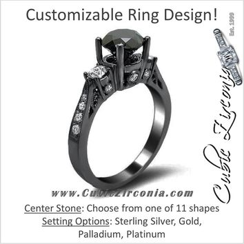 Cubic Zirconia Engagement Ring- The Xael (Customizable Center Three Stone Black CZ with Black Rhodium Alloy)