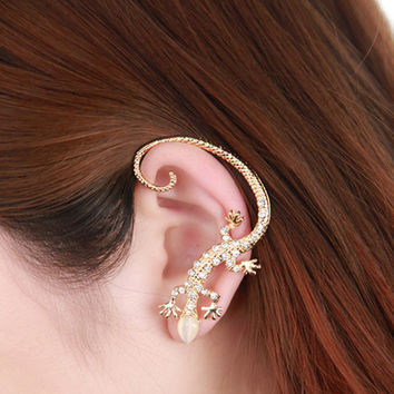 2016 New Hot Fashion Rhinestone earrings ear Cuff, Luxury elegant rose gold exaggerated gecko lizard stud earrings E4