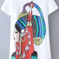 White Tribal Print Short Sleeve Graphic Tee
