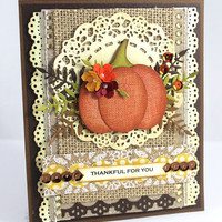 OOAK card, Handmade Card, Thanksgiving Card, Thankful for you