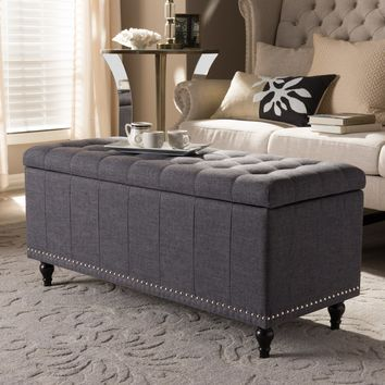 Baxton Studio Kaylee Modern Classic Dark Grey Fabric Upholstered Button-Tufting Storage Ottoman Bench Set of 1