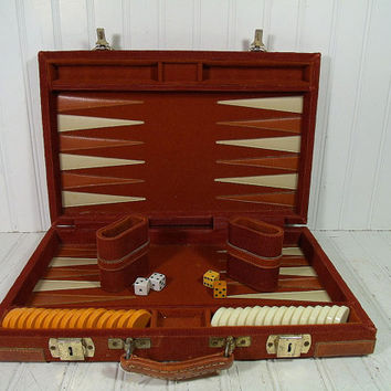 Vintage Auburn Brown Corduroy Padded BackGammon Travel Board Game - Retro GameRoom Equipment for Repurposing - Industrial Man Cave Bar Decor