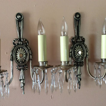 Vintage Antique Pair French Crystal Double Arm Sconces Ribbon Tassels 1930s - 1940s