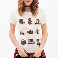 FOREVER 21 Camera Grid Graphic Tee Cream/Black