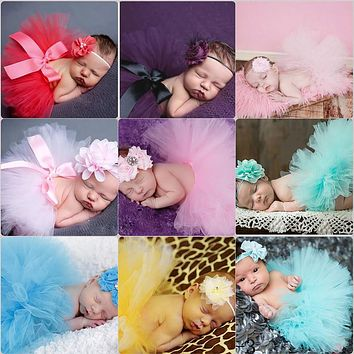 Newborn Photography Prop Infant Pettiskirt Costume Outfits Princess Skirt with Matching Headband Baby Girls Cute