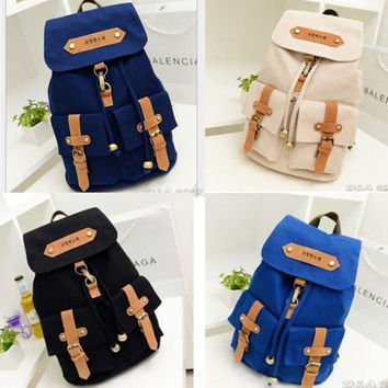 On Sale Comfort Back To School Hot Deal College Korean Stylish Casual Canvas Bags Backpack [8070740039]