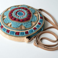 Round Bag crochet pattern - overlay and tapestry crochet mandala purse - instant download