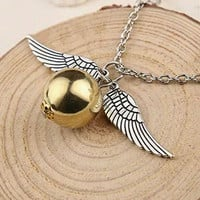 Harry Potter Golden Snitch Pendant Silver Wings Quidditch Necklace Hogwords Gryffindor Movie Fan Jewelry