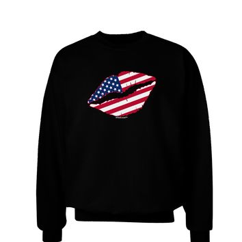 American Flag Lipstick Adult Dark Sweatshirt