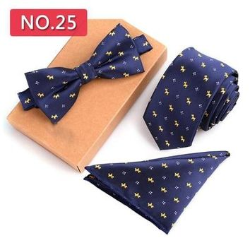 6cm Jacquard Slim Tie Set Mens Knit Bow Ties And Pocket Square Handkerchief Mens Skinny Wedding Ties And Handkerchief Bowtie Set