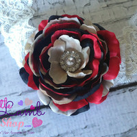 Baby Headband, Posh Birthday Red Black Couture Baby Headband, Newborn Headband, Infant Hair Band, Newborn photography props, Canada