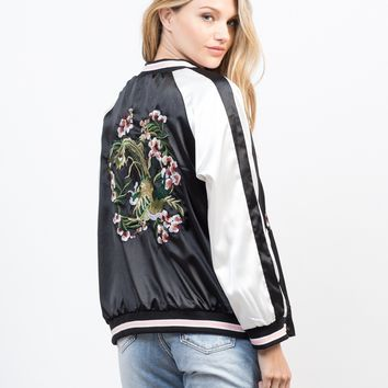 Floral Embroidery Reversible Jacket
