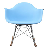 Mid Century Modern Plastic Molded Rocking Chair Light Blue