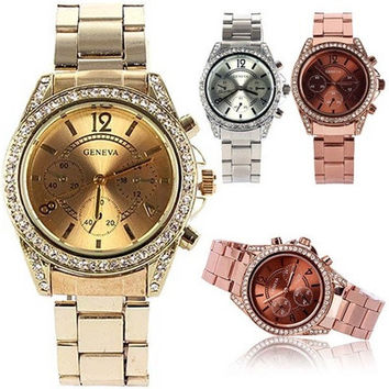 man's Bling Crystal Ladies Unisex Stainless Steel Quartz Wrist Watch [8833442060]