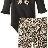 BON BEBE Baby-Girls Newborn Animal Print 2 Piece Velour Legging Set, Multi, 3-6 Months