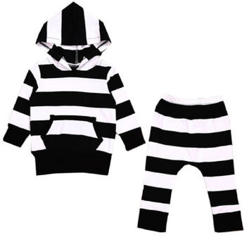 2 Pcs Autumn Spring Toddler Kids long sleeve set Baby Boys Clothes Hooded Shirt Tops Jacket +striped Pants Outfits 2PCS Set