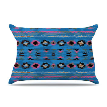 "Nina May ""Navano Blue"" Blue Tribal Pillow Case"