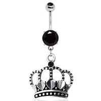 316L Surgical Steel Antique Style Heart Crown with Black Gems