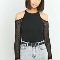Light Before Dark Black Airtex Long Sleeve Cold Shoulder Top - Urban Outfitters