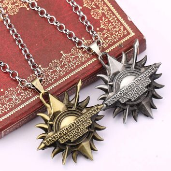 ZIDOM  Game of Thrones House Martell  Unbent, Unbowed, Unbroken Metal necklace Collier sun pendant Necklace for Drama lovers