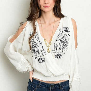 White Peasant Boho Top