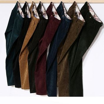 Male Retro Vintage Trousers Corduroy Pants Men Velvet Polar Slim Fit Brown Army Green Navy Black Red