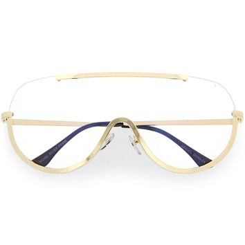 Oversize Semi Rimless Metal Trim Shield Blue Light Glasses C460
