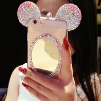 Cosmetic Mirror iPhone 7 7Plus & iPhone 6s 6 Plus Case Cover with Diamonds Handmade + Nice Gift Box
