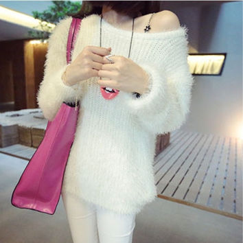 Mohair Hedging round neck Rongrong sweater = 1946081732
